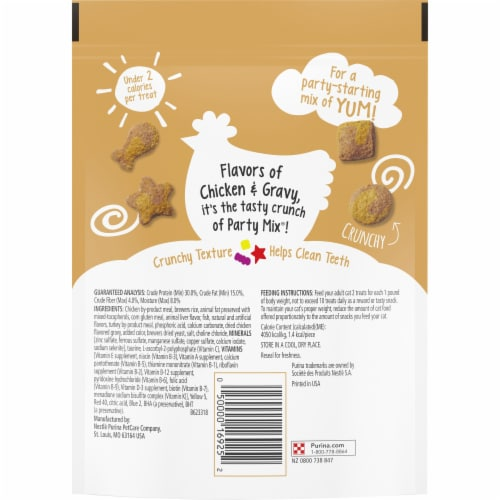 Friskies Party Mix Gravylicious Crunch Chicken & Gravy Flavored Cat Treats Perspective: back