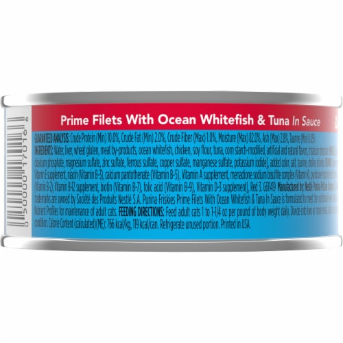 Friskies Prime Filets with Ocean Whitefish & Tuna in Sauce Wet Cat Food Perspective: back