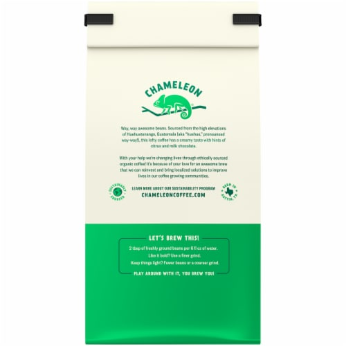 Chameleon Organic Guatemala Medium Roast Whole Bean Coffee Perspective: back