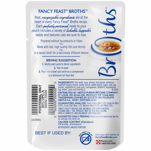 Fancy Feast® Classic Broths with Tuna Shrimp & Whitefish Wet Cat Food Pouch Perspective: back