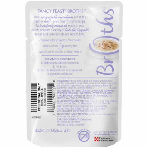 Fancy Feast Creamy Broths with Wild Salmon & Whitefish Wet Cat Food Pouch Perspective: back