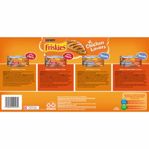 Friskies® Chicken Lovers Prime Filets & Shreds in Gravy Wet Cat Food Variety Pack Perspective: back