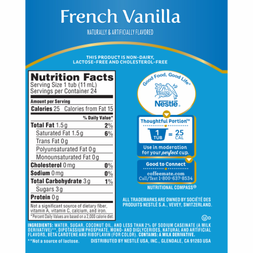 Coffee-mate French Vanilla Liquid Coffee Creamers 24 Count Perspective: back
