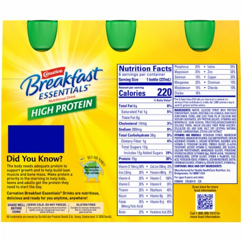 Carnation Breakfast Essentials® Classic French Vanilla High Protein Drink Perspective: back