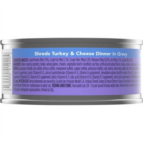 Friskies Shreds Turkey & Cheese Dinner in Gravy Wet Cat Food Perspective: back