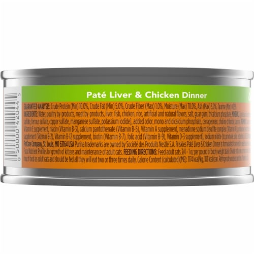 Friskies Liver & Chicken Dinner Pate Wet Cat Food Perspective: back