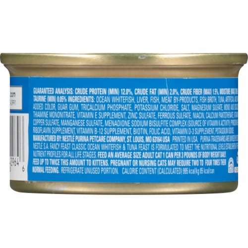 Fancy Feast Classic Pate Ocean Whitefish & Tuna Feast Wet Cat Food Perspective: back