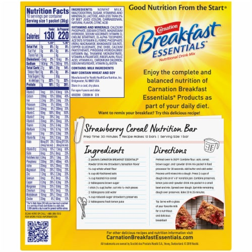 Carnation Breakfast Essentials Strawberry Sensation Drink Mix Perspective: back