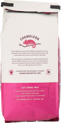 Chameleon Organic Dark & Handsome Dark Roast Whole Bean Coffee Perspective: back