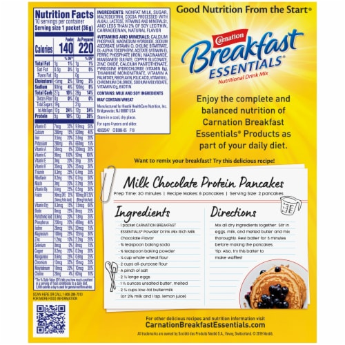 Carnation Breakfast Essentials Rich Milk Chocolate Nutritional Drink Mix Perspective: back