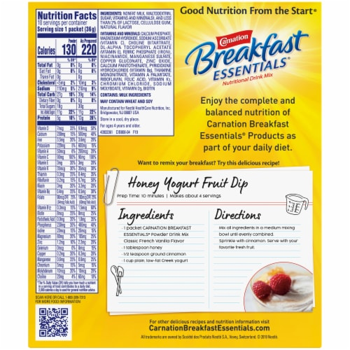 Carnation Breakfast Essentials® Classic French Vanilla Powder Drink Mix Perspective: back