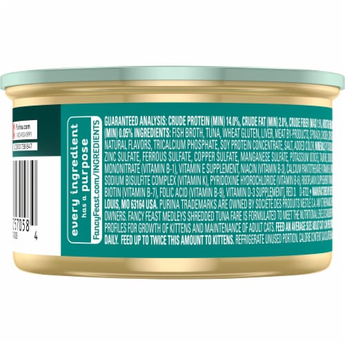 Fancy Feast Medleys Shredded Tuna Fare Wet Cat Food Perspective: back