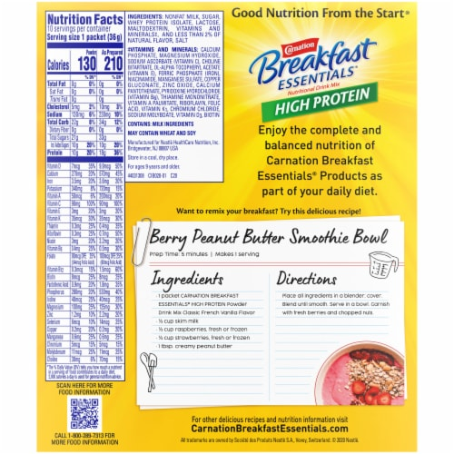 Carnation Breakfast Essentials® High Protein Classic French Vanilla Nutritional Drink Mix Packets Perspective: back