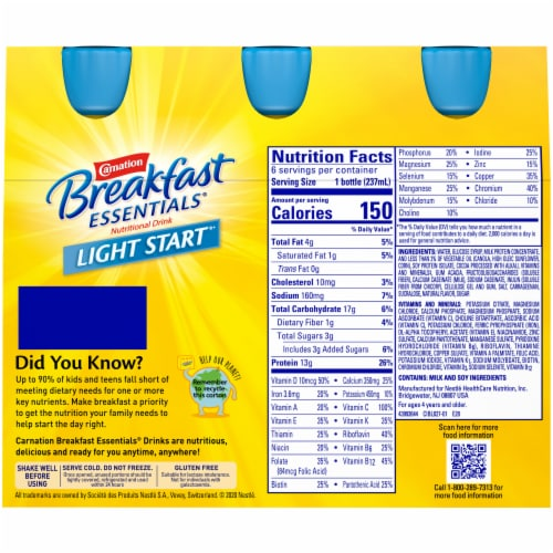 Carnation Breakfast Essentials Light Start Chocolate Nutritional Drink Perspective: back