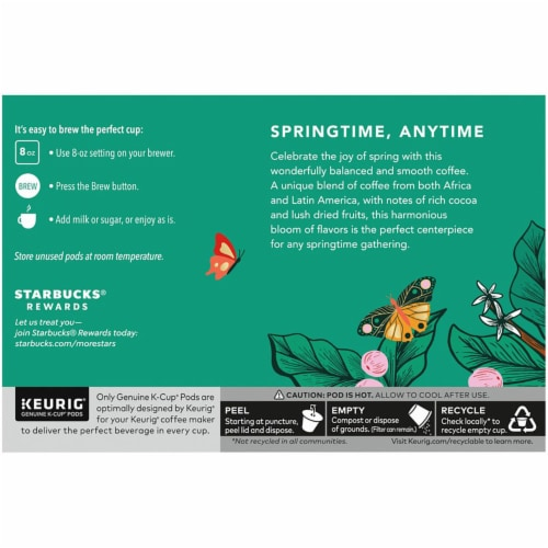 Starbucks Spring Day Blend Medium Roast Coffee K-Cup Pods Perspective: back