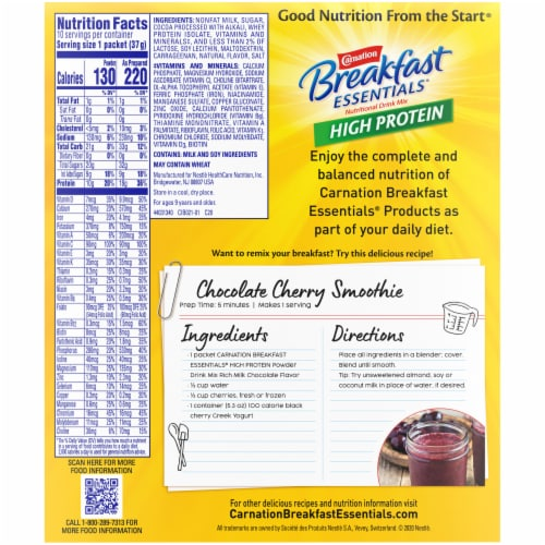 Carnation Breakfast Essentials® High Protein Rich Milk Chocolate Nutritional Drink Mix Packets Perspective: back