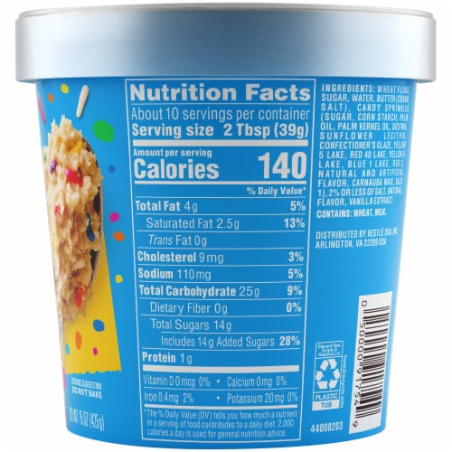 Nestle® Toll House® Funfetti Edible Cookie Dough with Sprinkles Perspective: back