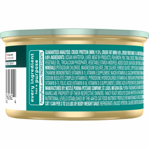 Fancy Feast Medleys Whitefish & Tuna Florentine with Cheese Pate Wet Cat Food Perspective: back