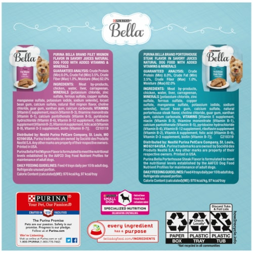 Bella Filet Mignon & Porterhouse Steak Pate in Juices Small Breed Wet Adult Dog Food Variety Pack Perspective: back