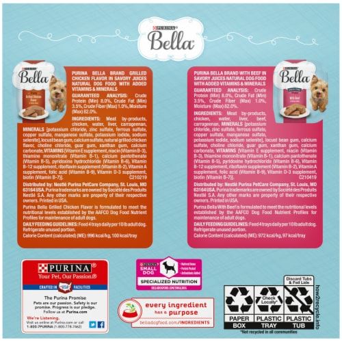 Bella Grilled Chicken & Beef in Savory Juices Pate Small Breed Wet Dog Food Variety Pack Perspective: back
