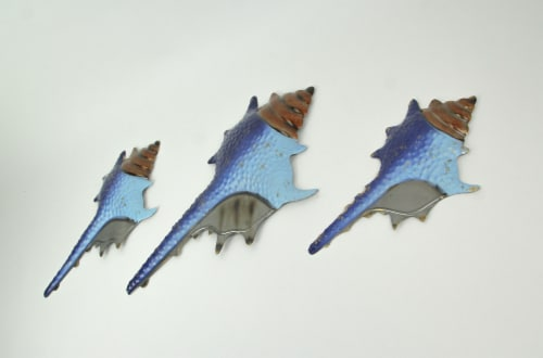 Set of 3 Blue Metal Seashell Decorations Wall Hanging Sculpture Beach Home Decor Perspective: back