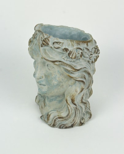 Weathered Blue-Gray Concrete Olive Wreath Roman Lady Head Planter 8 Inches High Perspective: back