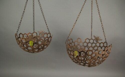 Set of 2 Hanging Honey Bee Metal Baskets Indoor Outdoor Decor Flower Fruit Holders Perspective: back