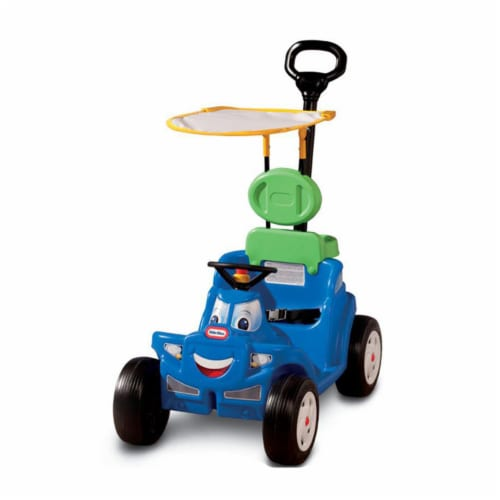 Little Tikes Deluxe 2 in 1 Cozy Roadster Toddler Kids Push Car Ride On Toy, Blue Perspective: back