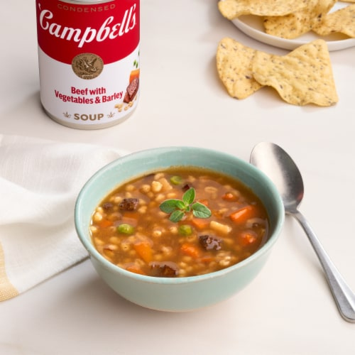 Campbell's Beef with Vegetables & Barley Condensed Soup Perspective: back