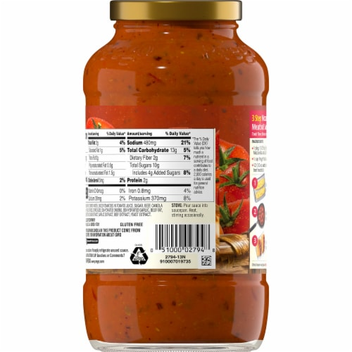 Prego® Italian Tomato Sauce with Meat Pasta Sauce Perspective: back