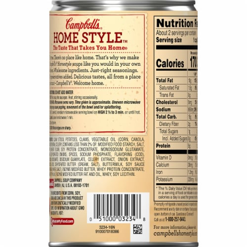 Campbell's Homestyle New England Clam Chowder Perspective: back