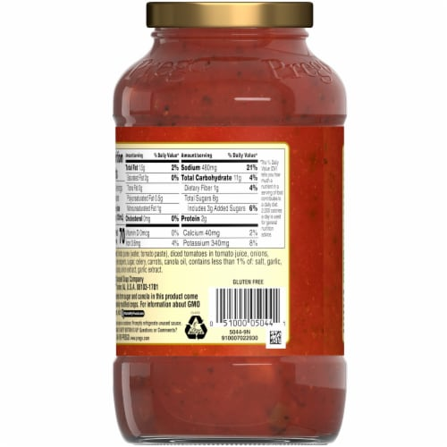 Prego Garden Harvest Chunky Combo Italian Sauce Perspective: back