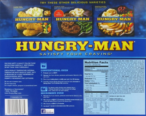 Hungry-Man Boneless Fried Chicken Frozen Meal Perspective: back