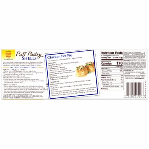 Pepperidge Farm Puff Pastry Shells Perspective: back