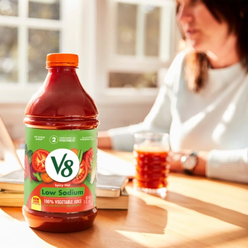 V8 Spicy Hot Low Sodium Vegetable Juice Perspective: back