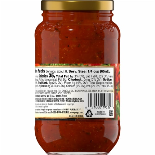 Prego Pizzeria Style Pizza Sauce Perspective: back
