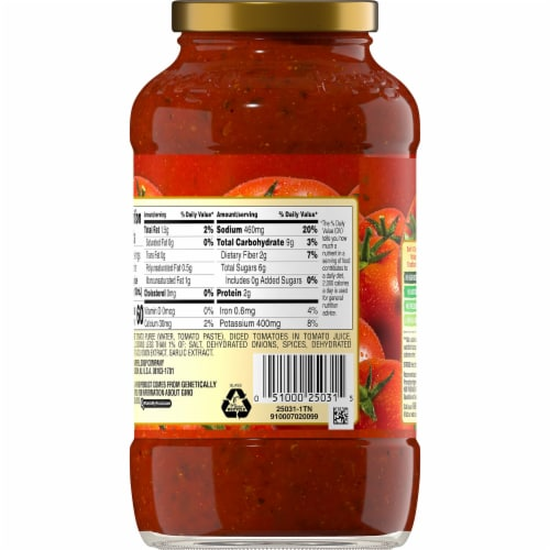Prego No Sugar Added Traditional Italian Sauce Perspective: back