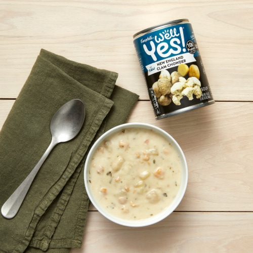 Campbell's Well Yes! New England Clam Chowder Soup Perspective: back