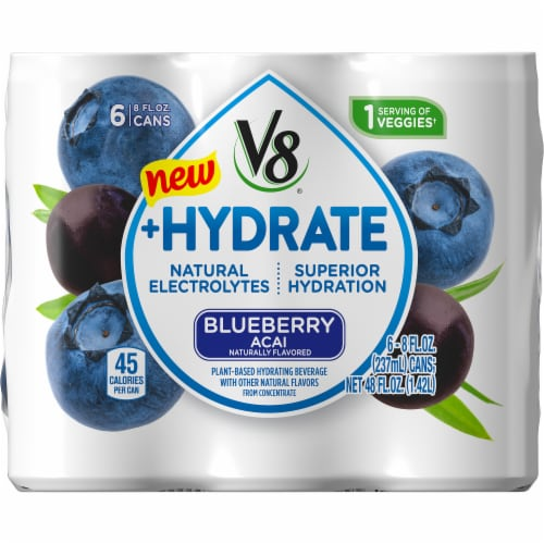 V8 +Hydrate Blueberry Acai Plant Based Hydrating Beverage 6 Cans Perspective: back