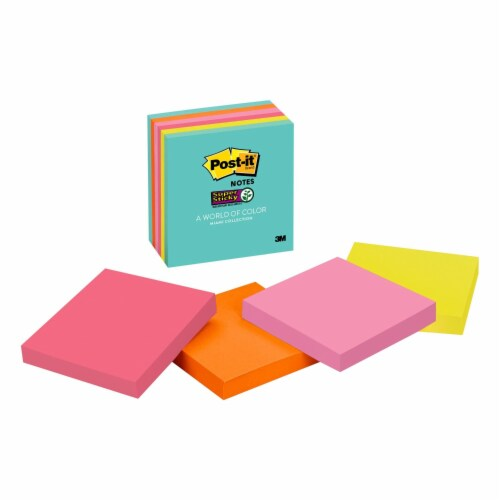 Post-it® Miami Collection Super Sticky Notes - 3 in x 3 in Perspective: back
