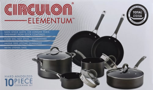 Circulon Elementum Hard-Anodized Nonstick Cookware Set - Gray Perspective: back