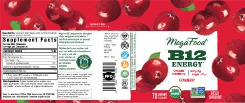 MegaFood Vitamin B12 Organic Cranberry Dietary Supplement Gummies Perspective: back