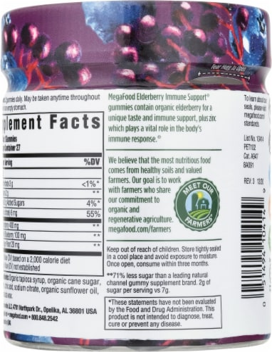 MegaFood Elderberry Immune Support Dietary Supplement Gummies Perspective: back