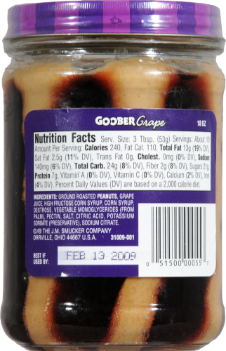 Smucker's Goober Peanut Butter & Grape Jelly Stripes Perspective: back