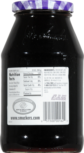 Smucker's Concord Grape Jelly Perspective: back