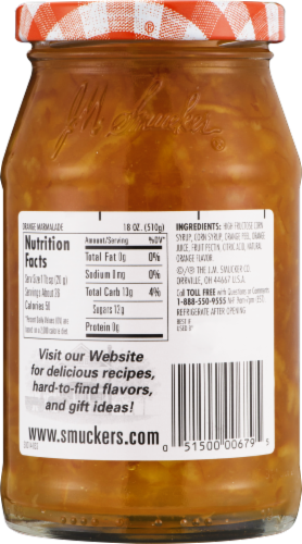 Smucker's Sweet Orange Marmalade Spread Perspective: back