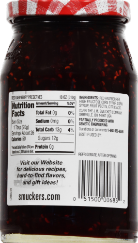 Smucker's Red Raspberry Preserves Spread Perspective: back