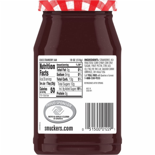 Smucker's Seedless Strawberry Jam Perspective: back