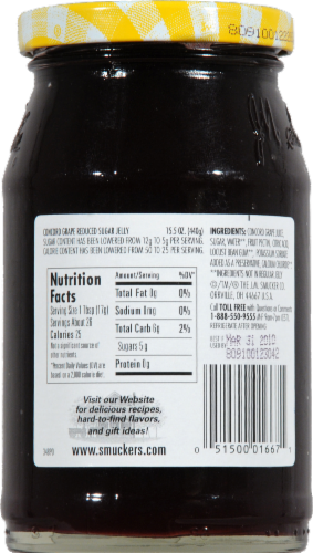 Smucker's Low Sugar Concord Grape Jelly Perspective: back