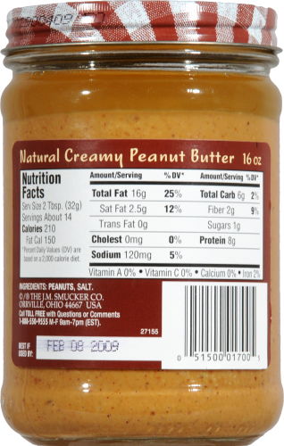 Smucker's Natural Creamy Peanut Butter Perspective: back